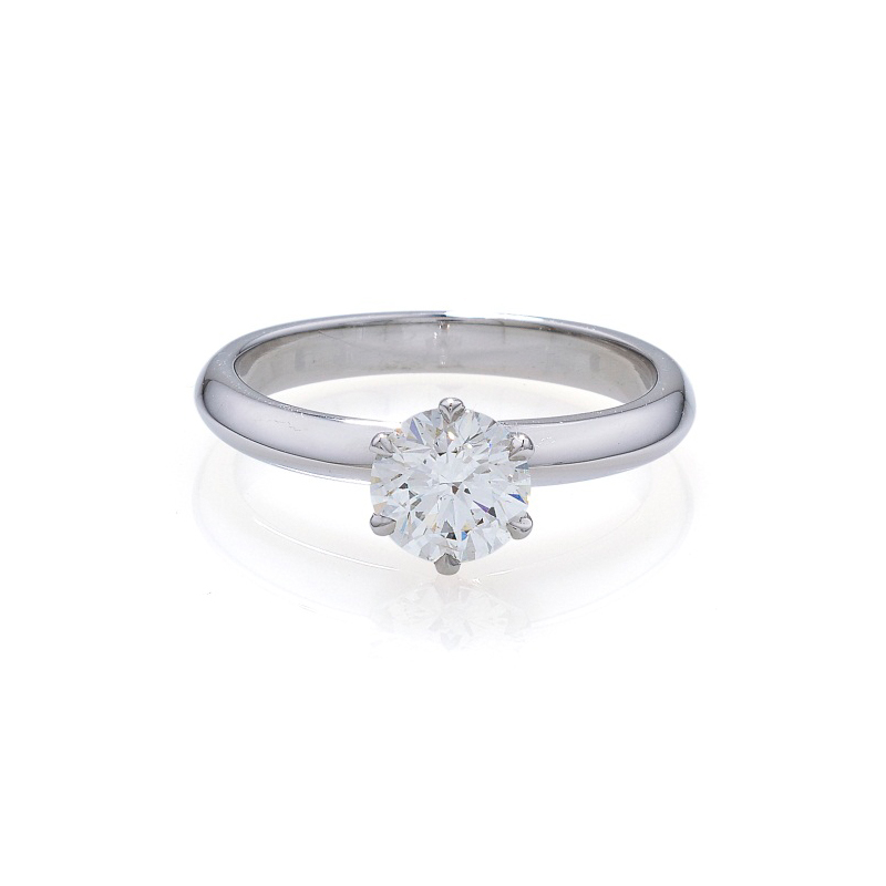 A contemporary style solitaire brilliant cut diamond Engagement Ring
