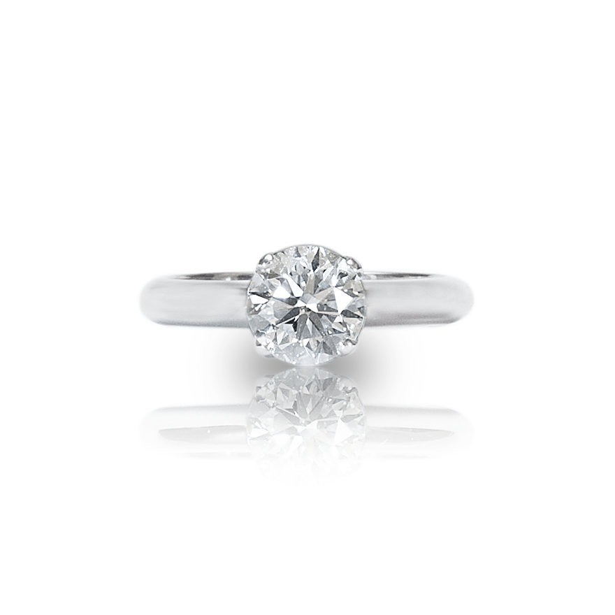 A certified single stone enagement ring in platinum