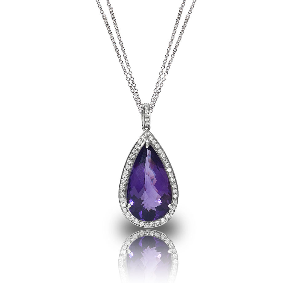 Amethyst and Diamond Cluster Pendant