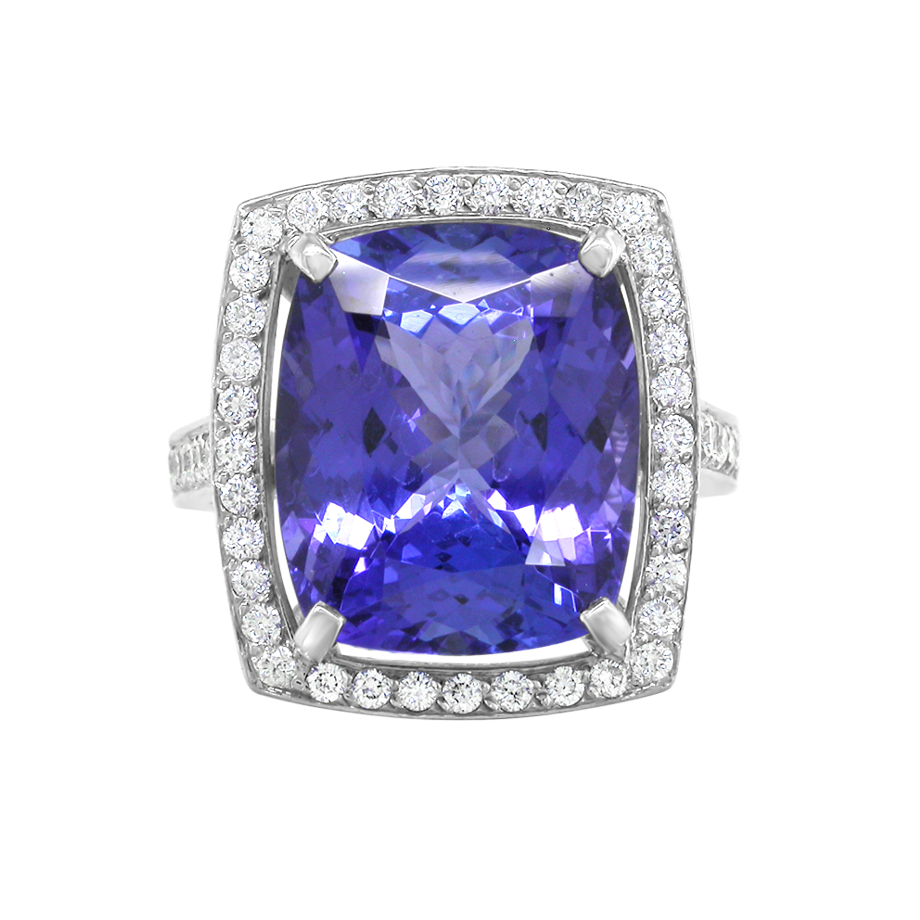 Diamond and Tanzanite Cluster Ring