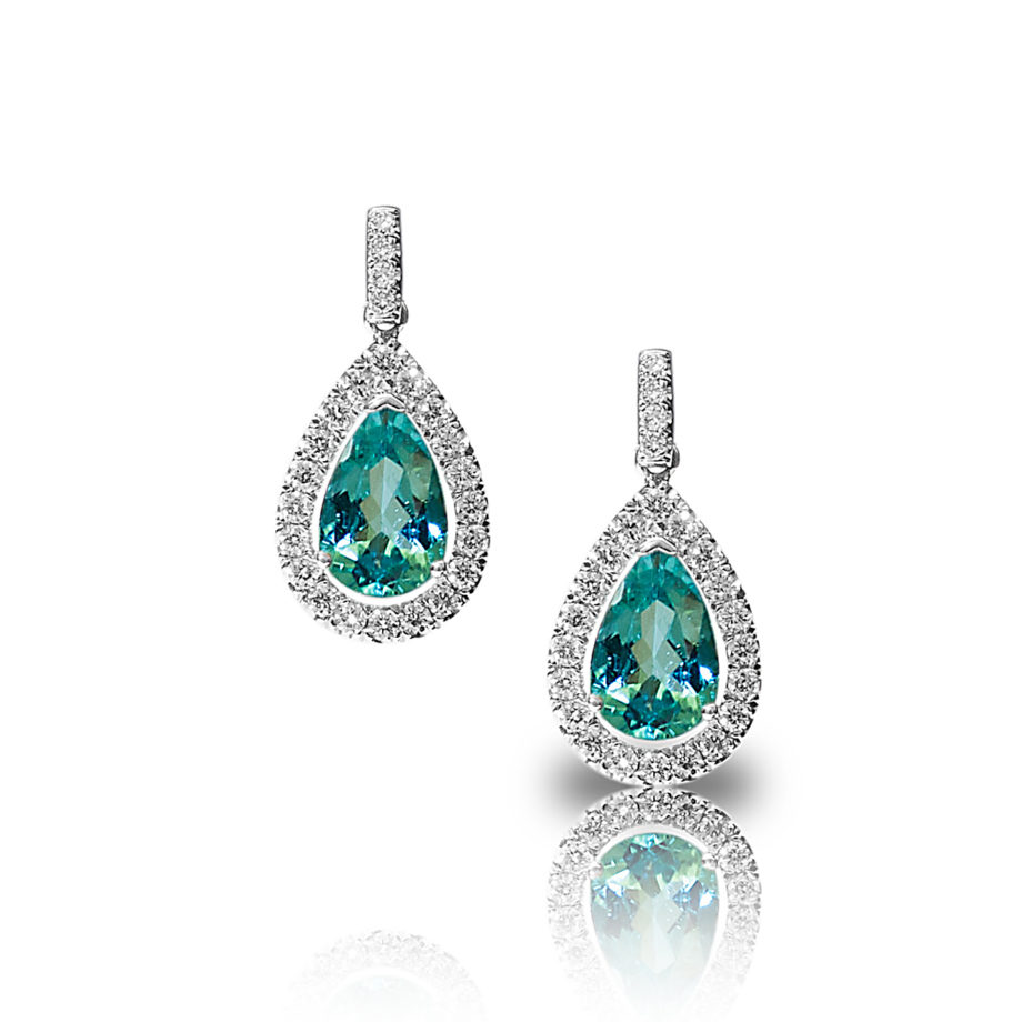 Diamond And Paraiba Tourmaline Drop Earrings Honour Amp Co