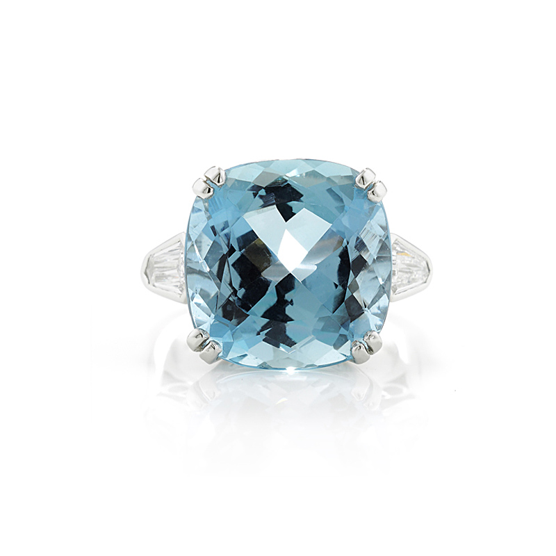 Platinum Aqua and Diamond Ring