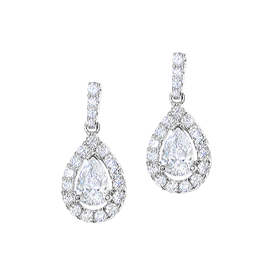 18ct White Gold Diamond Cluster Earrings Honour Amp Co